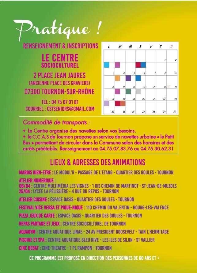 Programme Séniors Avril