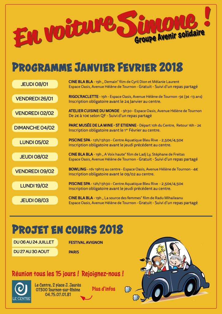 Avenir solidaire 2018 programme janvier fevrier centre socioculturel tournon sur rhone