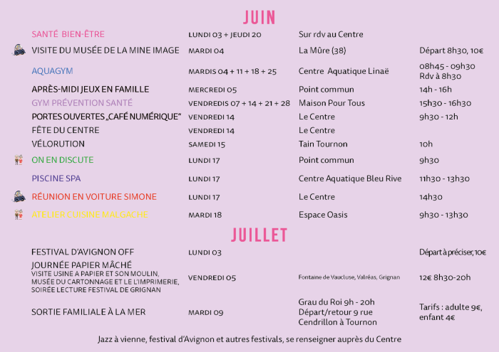 Programme Olà - Centre socioculturel Tournon camping car lisa